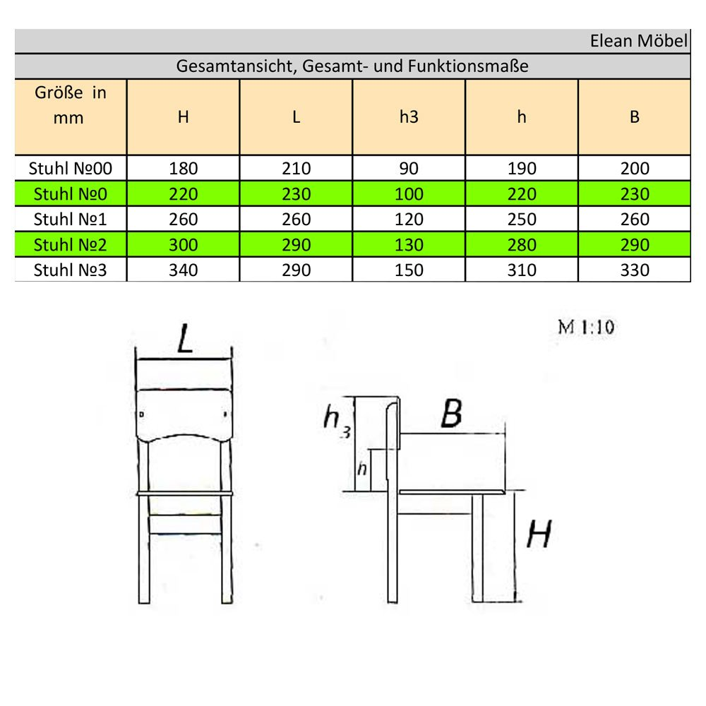Stuhl №1 Elean Kinderstuhl Holz Kiefer massiv in 5 Gr/ö/ßen zusammengebaut Neu