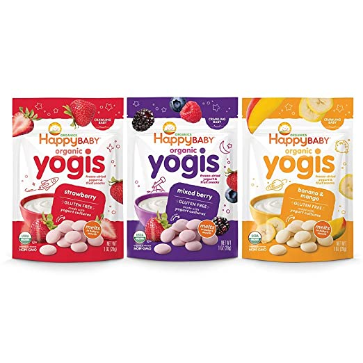 Happy Baby Organic Yogis Freeze-Dried Yogurt & Fruit Snacks, 1 Ounce Bags (3 Count Variety Pack) Mixed Berry, Banana Mango, Strawberry, Gluten-Free Easy to Chew Probiotic Snacks for Babies & Tots