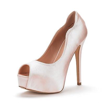 DREAM PAIRS Women's Swan-25 Champagne High Heel Plaform Dress Pump Shoes  Size 7.5 M
