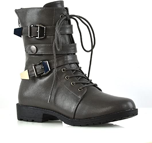 Womens Boots Ankle Combat Chunky Heel Ladies Lace Up Buckle Zip New Army Shoes