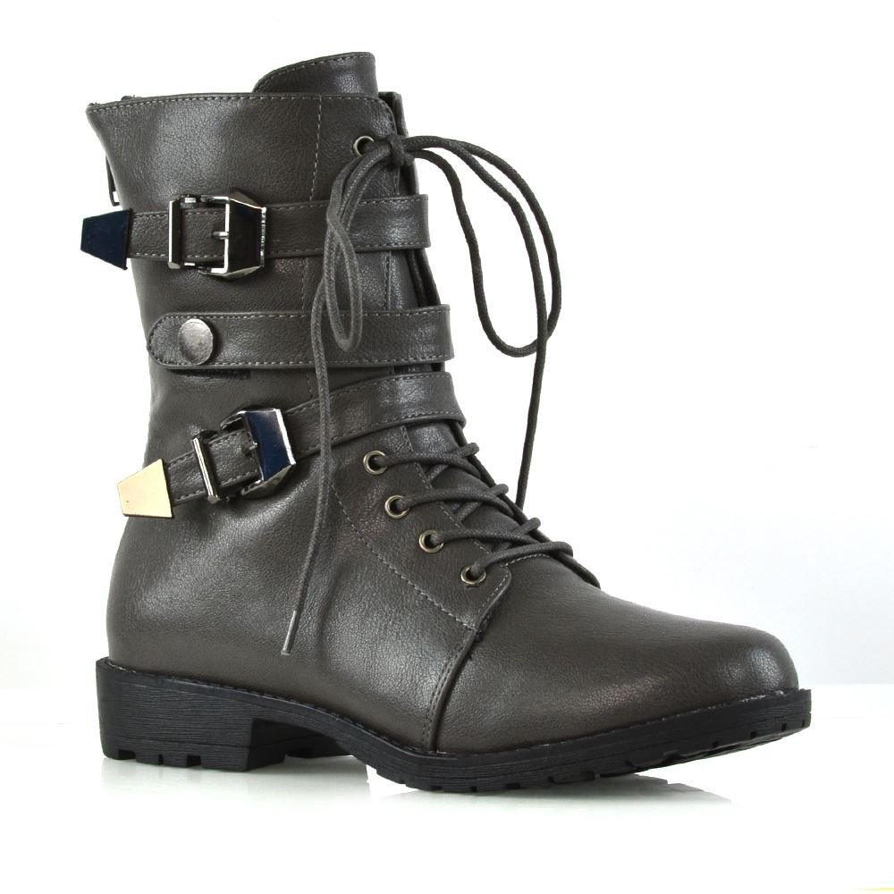ESSEX GLAM Womens Mid Calf Boots Lace up Zipper Buckle Grey Synthetic Leather Military Biker Boots 10 B(M) US