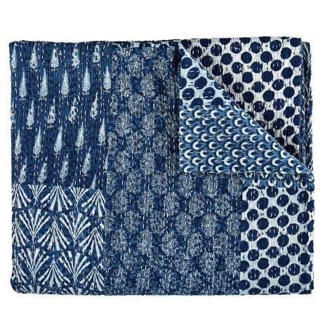 Tribal Asian Textiles Indigo Color Hand Block Printed Kantha Quilt, Twin Size Patchwork Cotton Bedspread, Made ()