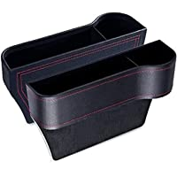 2 Pack Car Seat Gap Organizers, Microfiber Leather Car Seat Organizer with Cup Holder, Console Side Pocket Storage…