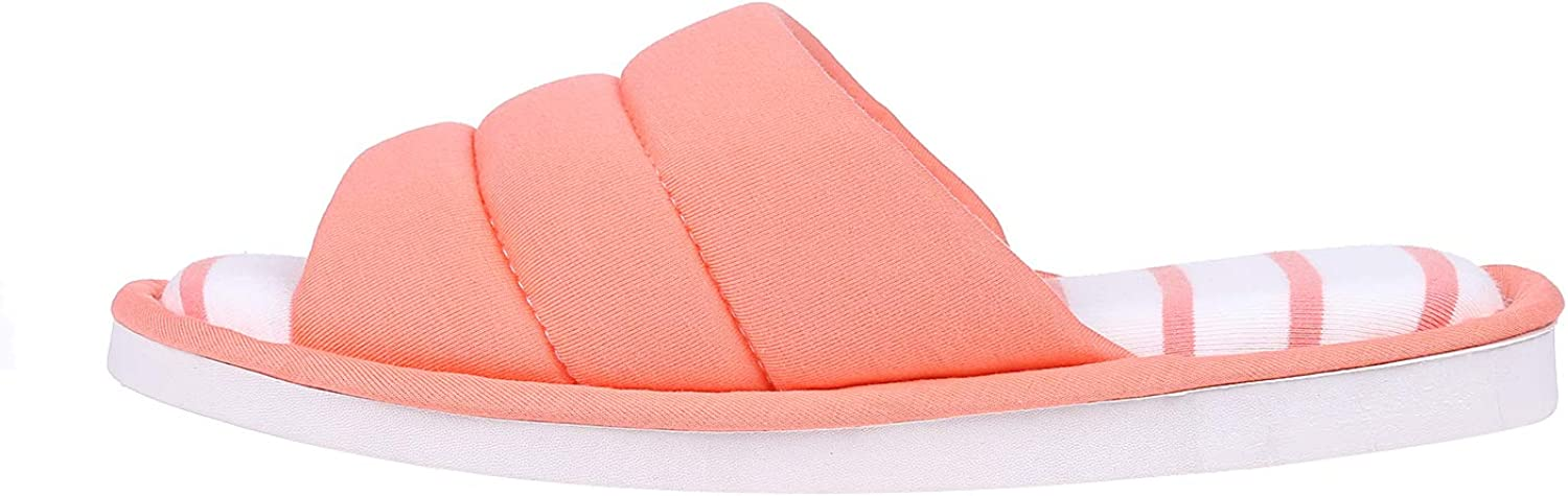 shevalues Womens Indoor House Slippers Open Toe Cotton Memory Foam Slip on Home Shoes