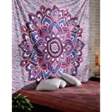 Tapestry Bedspread Ombre Wall Tapestries Pink Blanket Lightweight Floral Pattern Mandala Tapestry Indian Wall Hangings Cotton Home Decorative Bohemian Curtains Beach Throw handmade Accessories Yoga Tapestries Hippy Dorm Room Divider By Rajrang