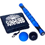 SunHubb Free Foam Roller + Muscle Roller Stick, Spiky & Lacrosse Balls Set - Full Body Massage Athletic Kit - Calf Leg IT-Band Hip Hamstring Shin Foot Back Fascia Pressure Point Massager