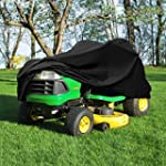 Heavy Duty 420 Denier Riding Lawn Mower Cover By Premium Products Fits Decks up to 54 Water Mildew & UV Protection Black