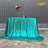 LQIAO 90x156in Christmas Green Sequin Tablecloth Rectangle Style For Wedding/Party/Banquet Wedding Table Cloth Decoration