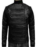 Black Soldier Leather Vest Jacket with Stripes in Winter
