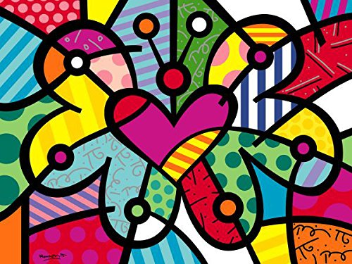 (Heart Butterfly by Romero Britto Abstract Contemporary Children Kid Poster (Choose Size of)