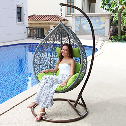 Outdoor Rattan Egg Shaped Swing Chair, Island Gale Garden Hanging Chair wicker Hammock with Stand and Cushion for indoor and outdoor, Grey, Green