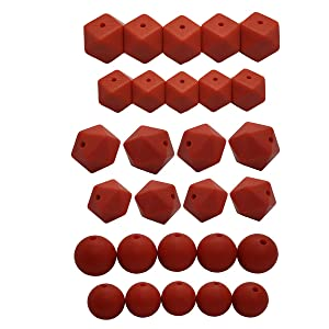 50pcs DIY Silicone Pearl Beads Set 14/17mm Hexagon Icosahedron 12/15mm Round Beads DIY Beading Jewelry Mom Care Necklace Making (Mandarin red)