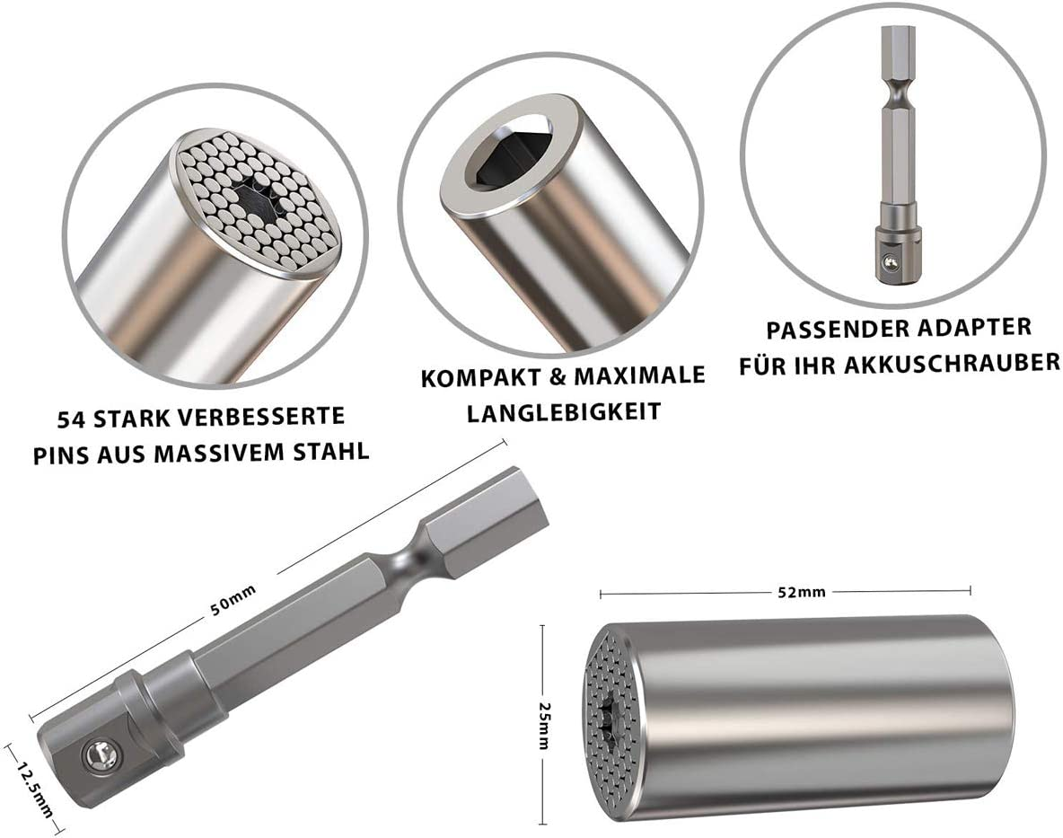 - Bushing Ratchet wrench set Niudai Universal Socket 3Pcs Tool set Magical Grip Socket Multifunctional Professional Repair Tool Handyman special 7-19mm Wrench Power Drill Adapter Set
