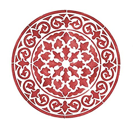 amazon com small round circle medallion 4 wall stencil sku 3626