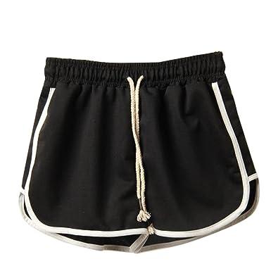c76c2ec156e Anglewolf Women s Sport Shorts Running Shorts Gym Yoga Pants Lady Summer  Casual Solid Straight Elastic Waist
