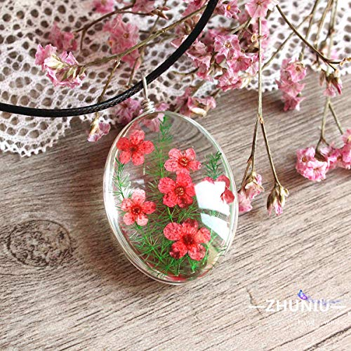 (Libaraba Daffodil Flowers with Asparagus Fern Pattern Time Gem Cabochon Pendant Necklace with Jewelry Box,Daffodil Necklace for Women (Red) )