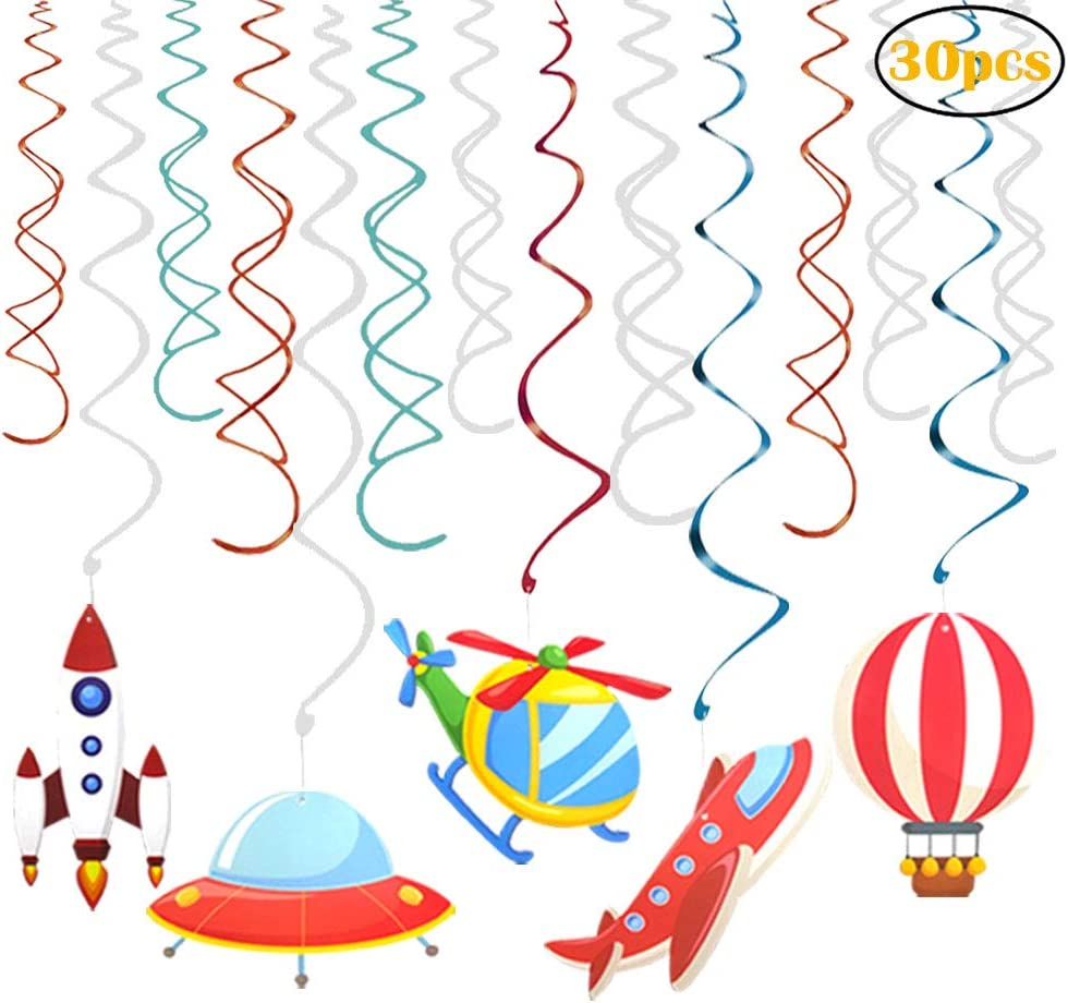 30 Ct Outer Space Hanging Swirl Party Decorations for Outer Space Solar System Airplane Hot-air Balloon Themed Party