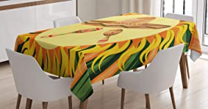 Ambesonne Mexican Decorations Tablecloth, Hat and Maracas in The Centre of Sun Figure Hippie Style Boho Home, Dining Room Kitchen Rectangular Table Cover, 60