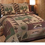 3pc Brown Green Burgundy Outback Theme Quilt Full Queen Set, Patchwork Lodge Cabin Hunting Everest Fishing Bedding, Patch Work Hunter Moose Pinecone Nature Southwest Themed Pattern