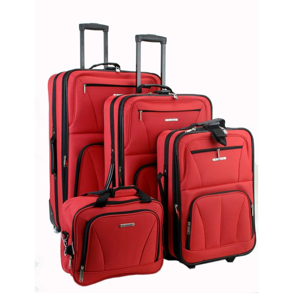 Rockland Luggage Skate Wheels 4 Piece Luggage Set, Red