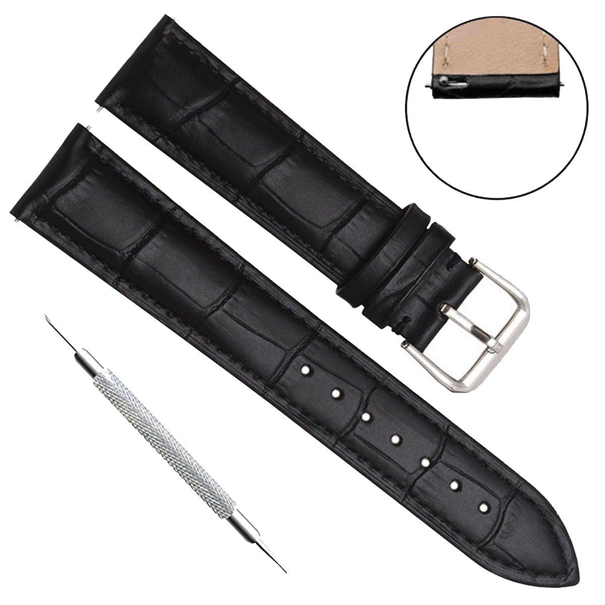 クイックリリース本革ウォッチバンドストラップステンレスメタルクラスプ付き 22mm Bamboo Leather/Black Stitch/Black 22mm|Bamboo Leather/Black Stitch/Black Bamboo Leather/Black Stitch/Black 22mm B074PRKMT1