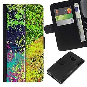 YiPhone /// Tirón de la caja Cartera de cuero con ranuras para tarjetas - Patrón de la salpicadura psicodélico - HTC One M7