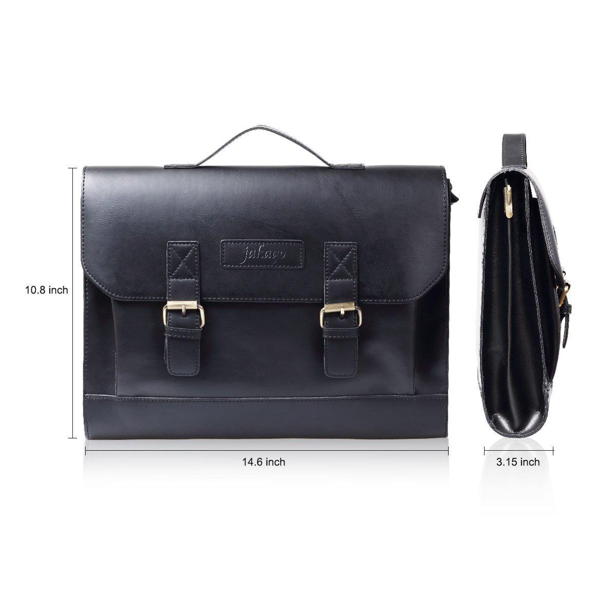 JAKAGO 14.6 Inch Vintage PU Leather Briefcase Laptop Shoulder Messenger Bag Tote School Distressed Bag for Women and Men by JAKAGO (Image #3)