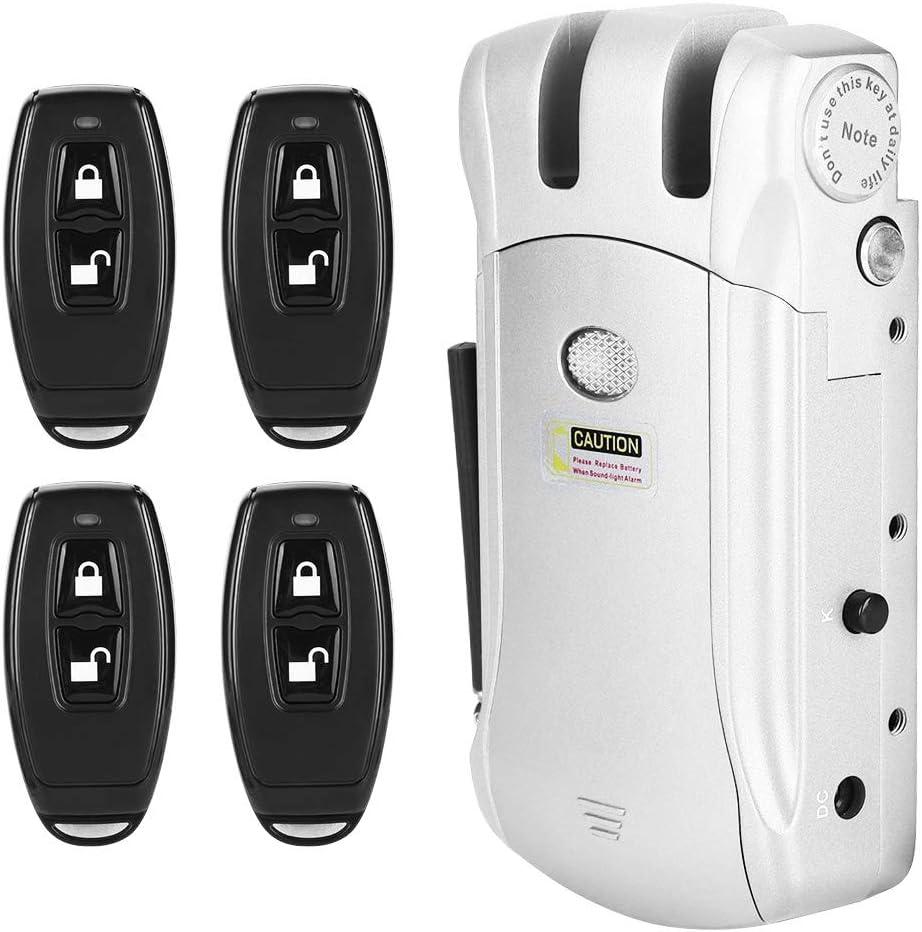 Cerradura electrónica, Cerradura de Control Remoto, Cerradura electrónica de Control Remoto inalámbrico sin Llave Invisible (Plata)