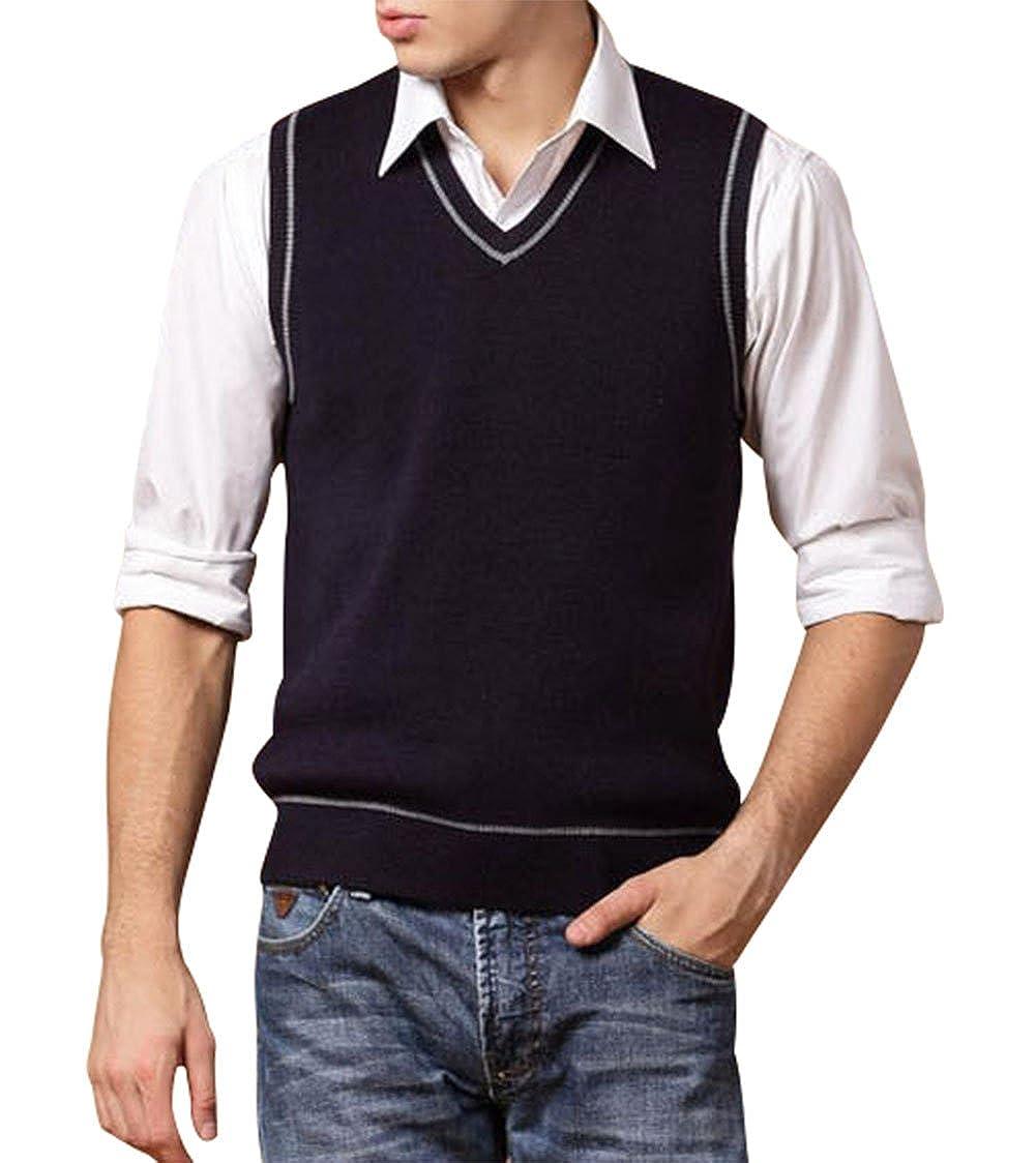 Lyamazing Men s Cashmere V-Neck Sleeveless Sweater Vest