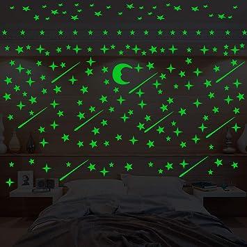 216 Pegatinas De Pared Que Brillan En La Oscuridad Lopet Realistas Estrellas De Techo Pegatinas Decoración De Habitación Con 205 Estrellas Y 10 Meteoros Y Luna Para Niños Decoración De Dormitorio