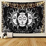 "Sevenstars Sun and Moon Tapestry Burning Sun with Star Tapestry Psychedelic Tapestry Black and White Mystic Tapestry Wall Hanging(82"" x 59"")"