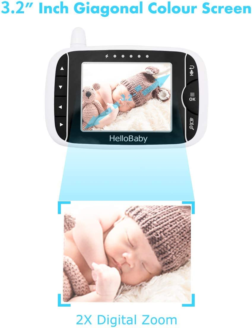 "Baby Monitor with Remote Pan-Tilt-Zoom Camera and 3.2"" LCD Screen, Infrared Night Vision (Black) 61YVvtTKhQL"