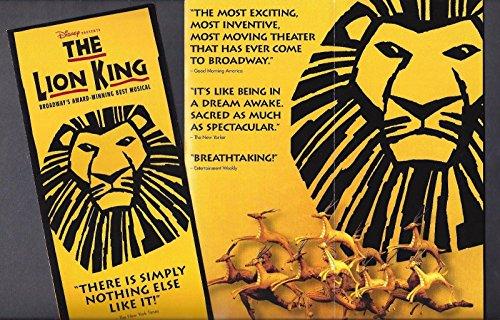 "Elton John""THE LION KING"" Julie Taymor/Tony Award Winner 1999 Broadway Flyer"