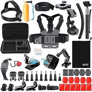 BAXIA TECHNOLOGY 38-in-1 Accessories for GoPro HERO 5 Session 4 3+ 3 2 1 Black Silver SJ4000/5000/6000, Sports Camera Accessories for Xiaomi Yi/ AKASO/ WiMiUS/ Lightdow/ DBPOWER/ APEMAN/ Aokon/ ANART