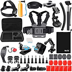 BAXIA TECHNOLOGY 38-in-1 Accessories for GoPro HERO 5 Session 4 3+ 3 2 1 Black Silver SJ4000/5000/6000, Sports Camera Accessories for Xiaomi Yi/ AKASO/ WiMiUS/ Lightdow/ DBPOWER/ APEMAN/ Aokon/ ANART