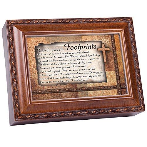 Cottage Garden Footprints Inspirational Woodgrain Traditional Music Box Plays Amazing Grace