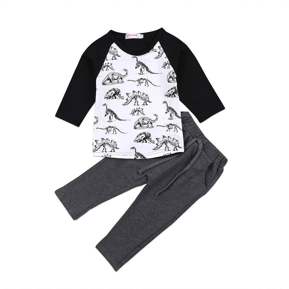 Lucoo Children Kid Baby Boys Girls Dinosaur Bone Print Tops+Pants Casual Set Clothes