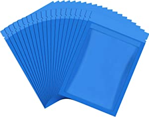 100 Pieces Resealable Smell Proof Bags Foil Pouch Bag Flat Bag for Party Favor Food Storage (Blue, 3 x 4 Inch)