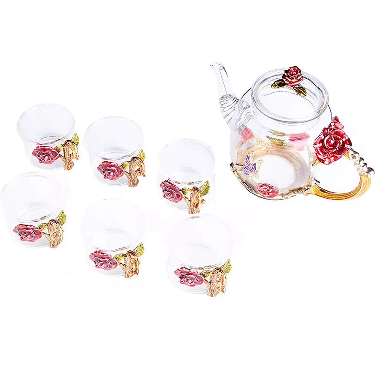 YBK Tech Creative Flower Glass Teapot and Cup Set Crystal Glass Kung Fu Tea Cup Set for Hot Beverage, Iced Tea, Naked Juice, for Sister, Mom, Grandma, Teachers- Rose (Red)