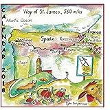 2018 Calendar, Way of St. James in Spain: Watercolor diary of walking the El Camino in Spain.