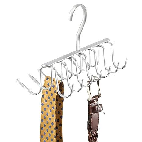 nuovo aspetto Acquista i più venduti stile unico mDesign porta cravatte e portacinture con 14 ganci – portacravatte da  armadio in acciaio – ideale per cravatte, cinture, foulard, collane e  indumenti