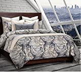 6 Piece Unique Damask Design Duvet Cover Set Cal King Size, Featuring Beautiful Smoke Effect Pattern Comfortable Bedding, Contemporary French Country Inspired Adult Bedroom Decor, Blue, Brown, Multi