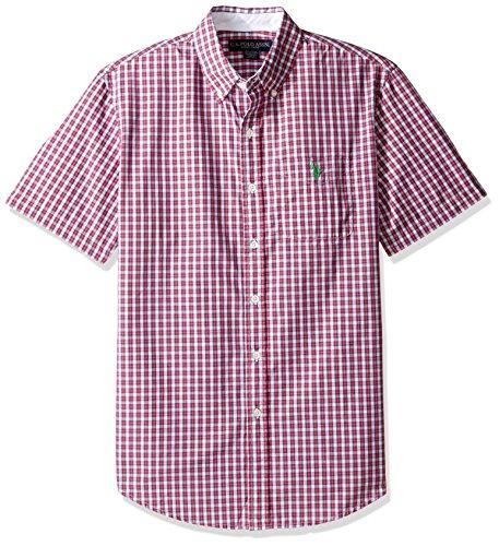 U.S. Polo Assn. Men's Classic Fit Single Pocket Stripe, Plaid Or Print Sport Shirt, 9715-Celebrity Pink, M Celebrity Single