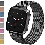 Vancle Metal Band Compatible with Fitbit Versa Bands, Stainless Steel Milanese Mesh Loop Metal Replacement Wristbands with Magnet Lock for Fitbit Versa (Black, Large)