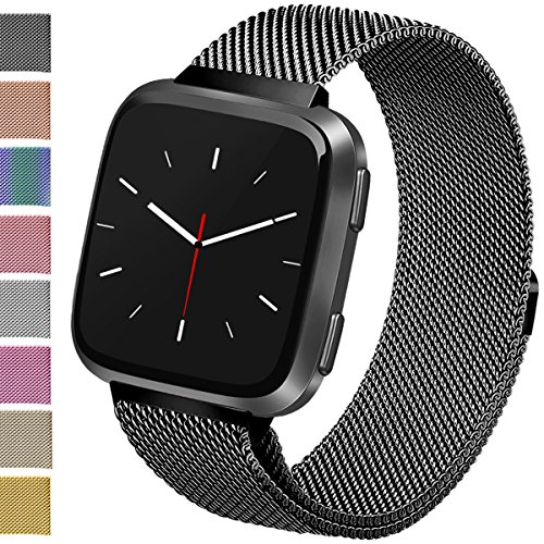 Vancle For Fitbit Versa Bands, Stainless Steel Milanese Mesh Loop Metal Replacement Wristbands with Magnet Lock for Fitbit Versa