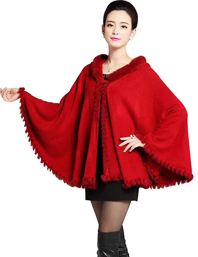 Vintage Scarves- New in the 1920s to 1960s Styles Winter Wool Wrap Coat with Hooded Faux Fur Trim Cape $49.99 AT vintagedancer.com