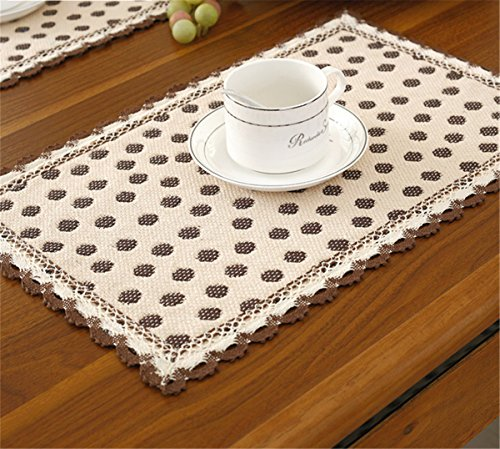 Brief style 100% cotton handmade brown polka dot beige placemats 12 inch 18 inch approx set of 4
