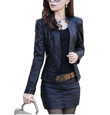 chaqueta PU cuero mujer con manga larga slim Moto Cazadoras Biker Chaquetas: Amazon.es: Ropa y accesorios