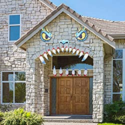 Blue Monster Face with Sharp Teeth Halloween Outdoor Decor