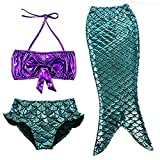 Girl 3Pcs Mermaid Tail Swimmable Bikini Set Bathing Summer Swimwear Cosplay 3-9Y